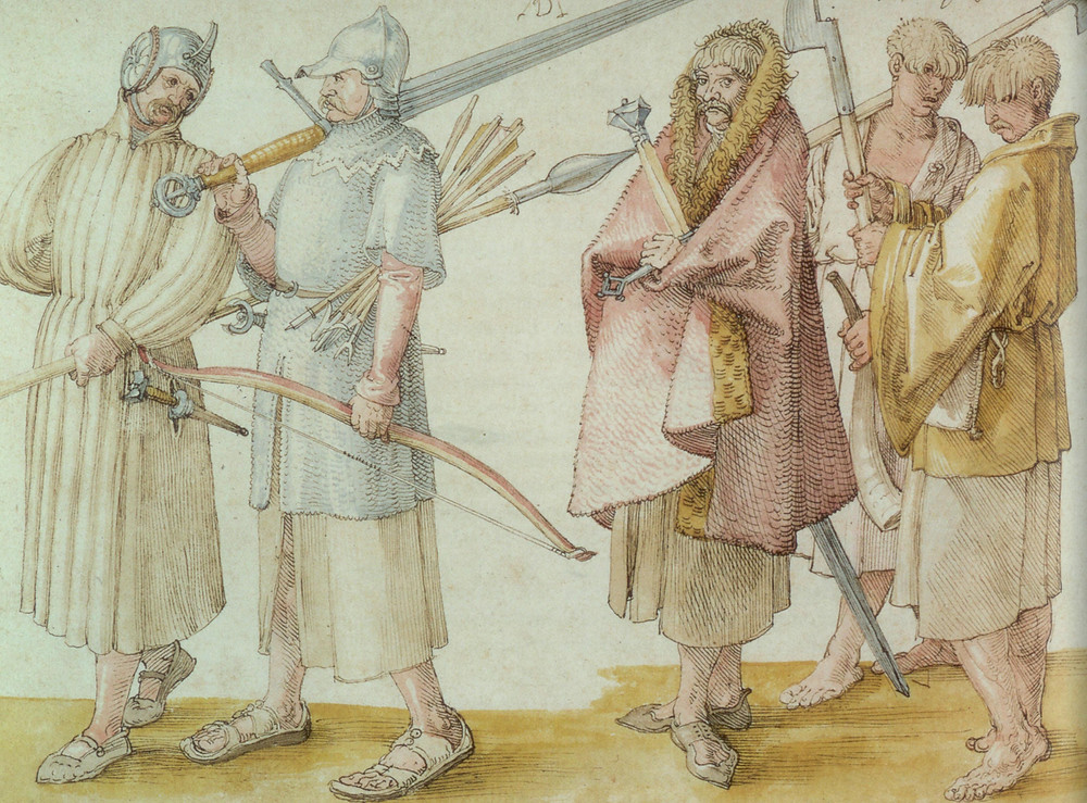 Albrecht Durer's drawing of 1521, thought to show galloglass and their servants.