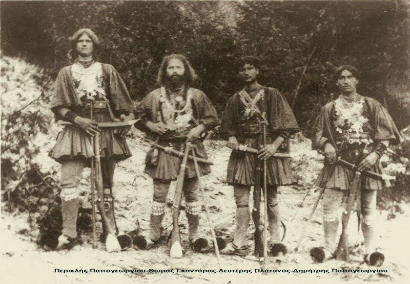 Greek bandits in 1923, quite grungy compared to the bleached white Evzone guards