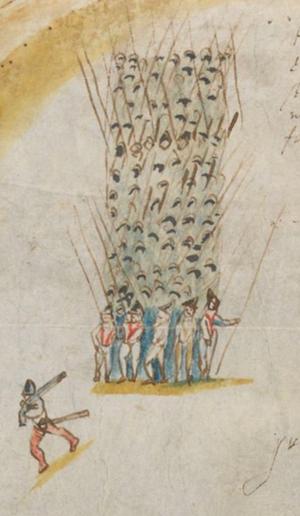 Irish pike column  at the capture of Ormond, 1600.