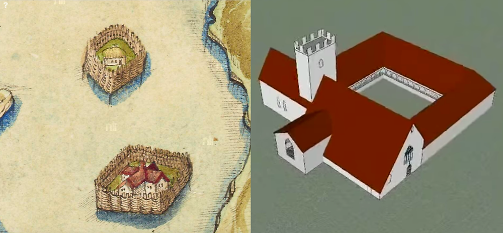 depiction of crannogs, or artificial island settlements circa 1600, and Roscommon Abbey circa 1260.