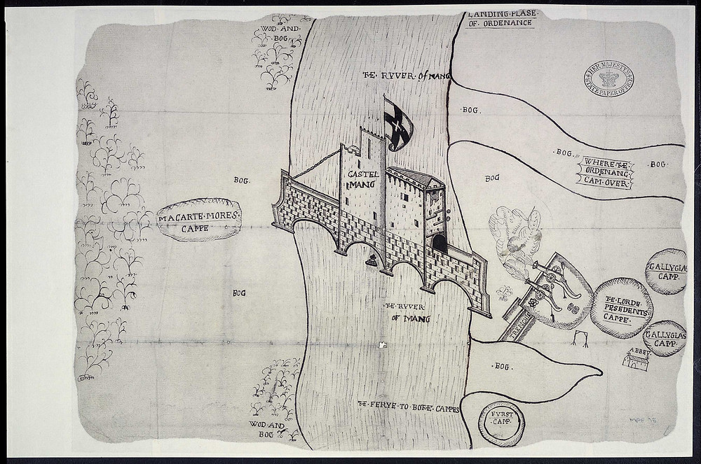 Queen Majestie's Galloglass on campaign.  Their camps at right.  Siege of Castlemaine, 1572.