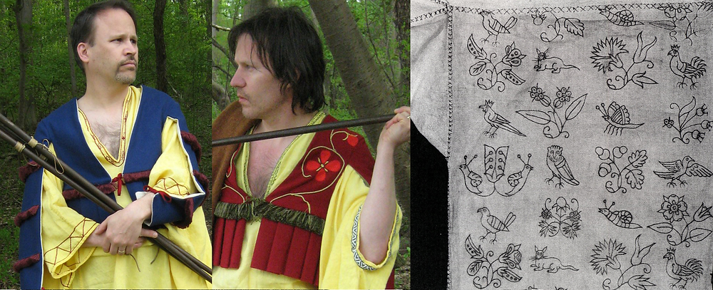 Left, red and green silk embroidery, with green/white caddas trim; right, English shirt embroidery, 1620