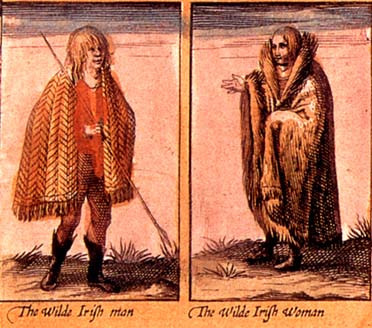 Gaelic Irishman and woman in mantle, shaggy mantle, with glibb
