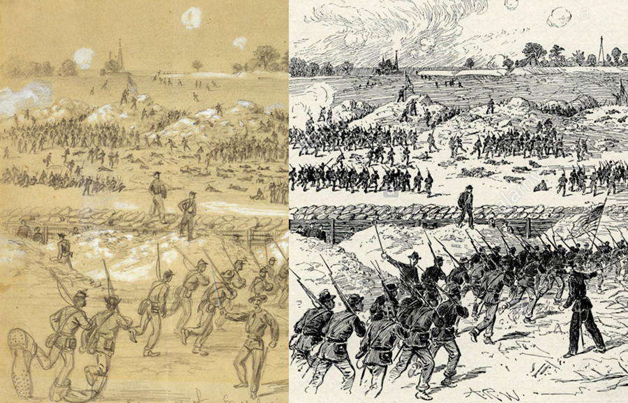 Alfred Waud sketch and woodcut, 1864