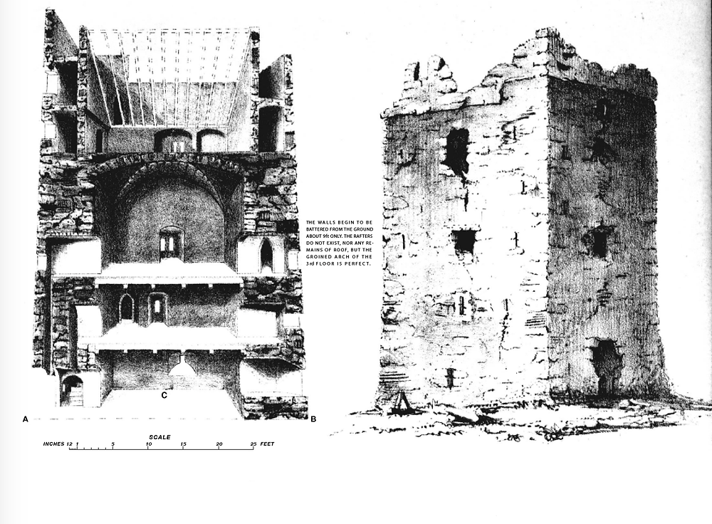 Section and elevation of Tinnikill Castle drawn in 1853.