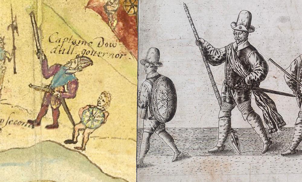 Capt. John Dowdall & Irish boy at Enniskillen, 1594; right, the Lant Roll, 1587.
