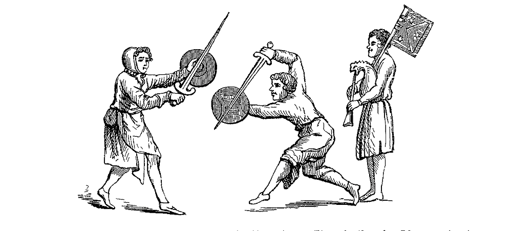 Sword dance to the sound of the bagpipe.  English, 14th century.