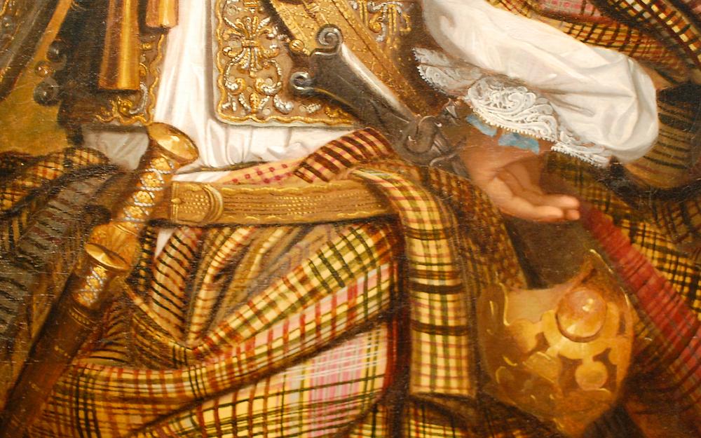 Detail of Sir Mungo Murray, showing drawstring just above waist belt.