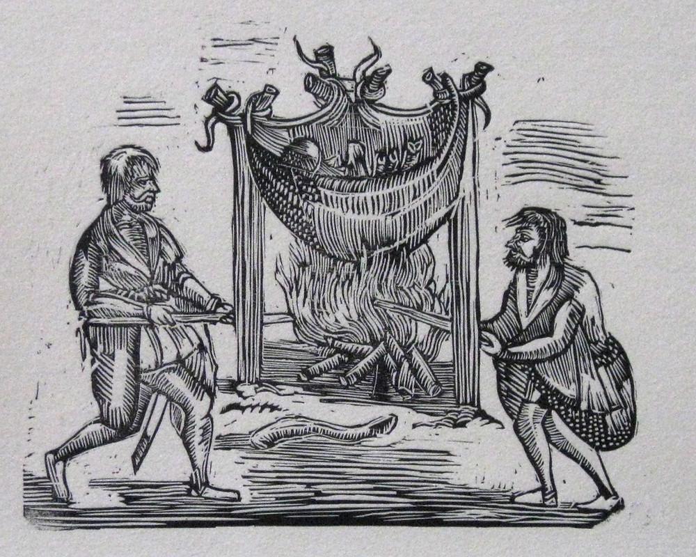 Irish cooking in a hide cauldron