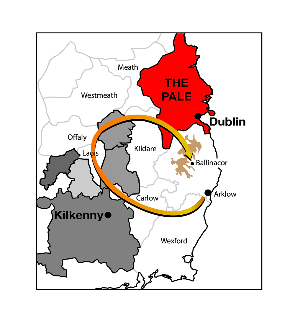 Map showing the path taken by O'Byrnes on raids against the English Pale