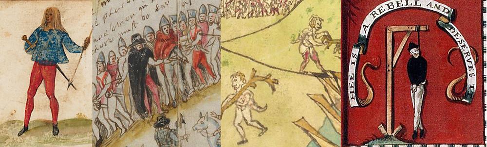 Depictions of red & white trews: Tielch (1603), Taking of Ormond (1600), Eniskillen (1592), Civil War flag (c. 1650).