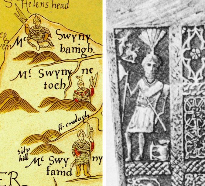 Map illustration and grave slab showing galloglass armour
