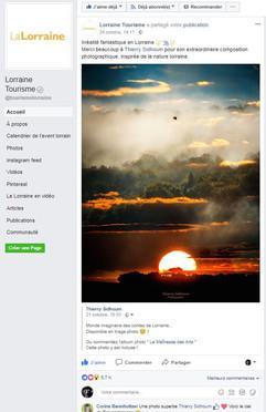visuel pub passage des 5700 vues sur la  page Facebook de Lorraine Tourisme