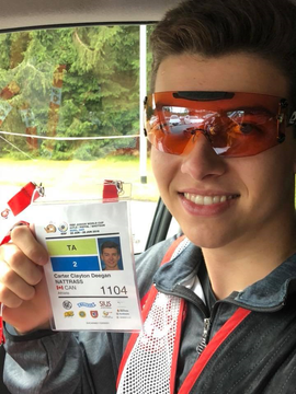 Carter with his first ISSF Junior World Cup badge. He's official.