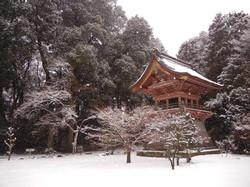 元三大師安楽寺鐘楼堂雪景色