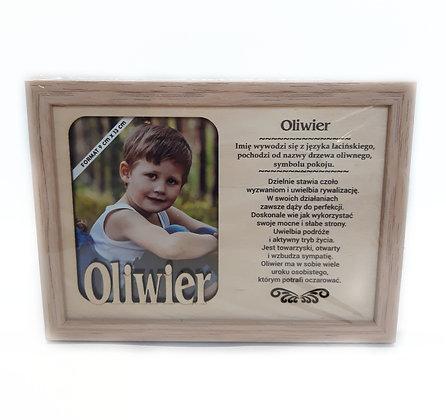 Drewniana ramka z imieniem Oliwier i sentencją
