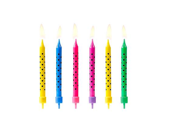 Świeczki urodzinowe kropki mix