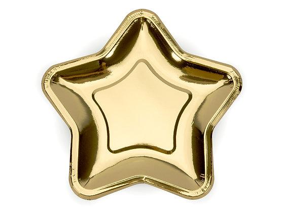 Talerzyki papierowe 23cm w kształcie gwiazdki kolor złoty