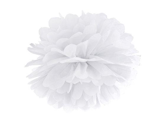 Pompon bibułowy 25cm kolor biały
