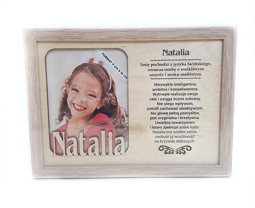 Drewniana ramka z imieniem Natalia i sentencją