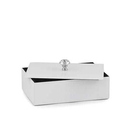 Lustrzana biała duża szkatułka na biżuterię puzderko