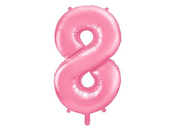 Balon foliowy różowy duży w kształcie cyfry CYFRA 8