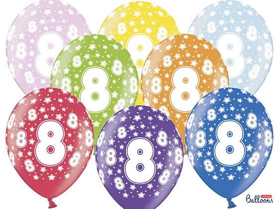 Balony metalizowane z nadrukiem cyfra 8