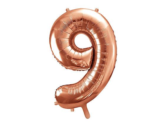 Balon foliowy różowe złoto duży w kształcie cyfry 9