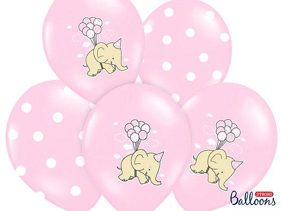 Balony 30cm Słonik,Pastel Pink Mix