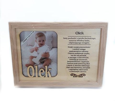 Drewniana ramka z imieniem Olek i sentencją