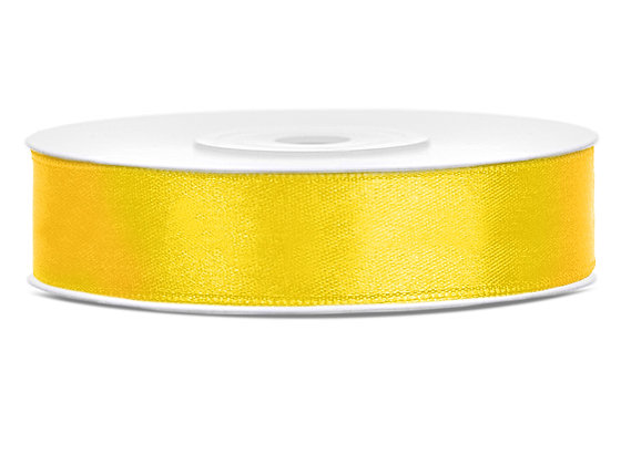 Tasiemka satynowa 12 mm 1m kolor żółty