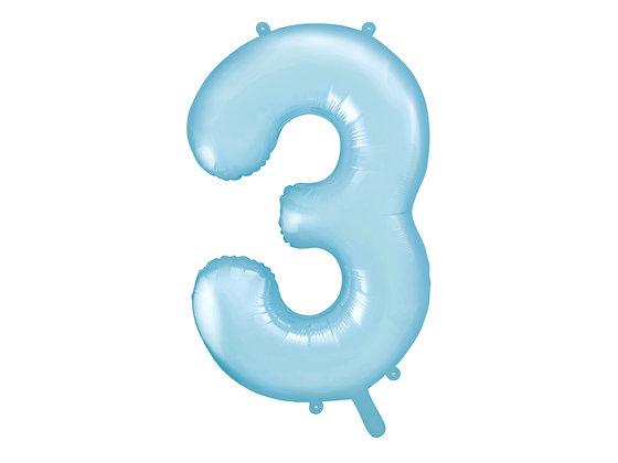 Balon foliowy niebieski duży w kształcie cyfry CYFRA 3