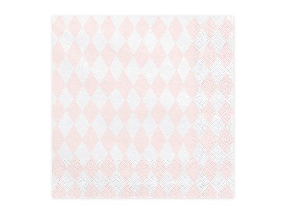 Serwetki różowo-białe