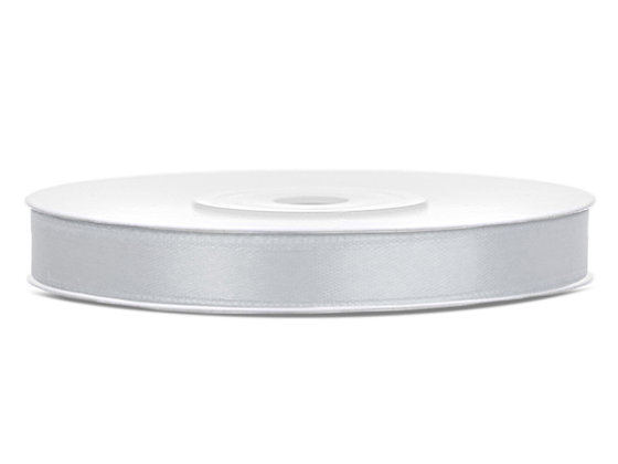 Tasiemka satynowa 6 mm 25m kolor srebrny