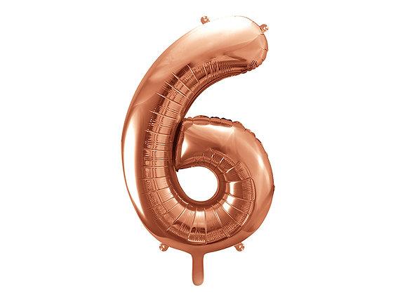 Balon foliowy różowe złoto duży w kształcie cyfry 6