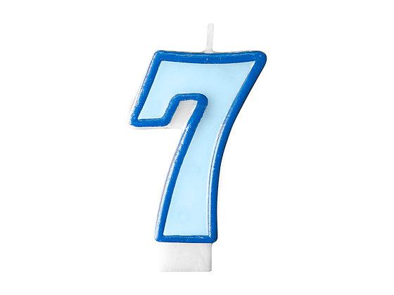 Świeczka Urodzinowa cyferka 7 niebieska