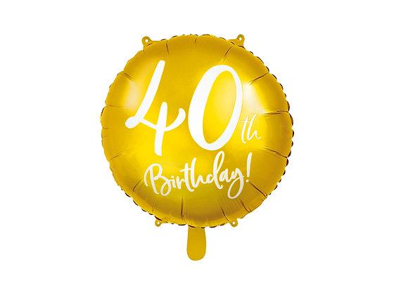 Balon foliowy złoty 40 urodziny
