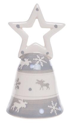 Dzwonek ceramiczny szary renifery prezent upominek