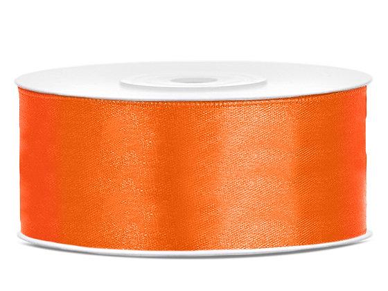 Tasiemka satynowa 25 mm 1m kolor pomarańczowy
