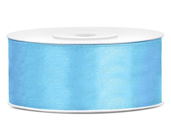 Tasiemka satynowa 25 mm 1m kolor błękitny