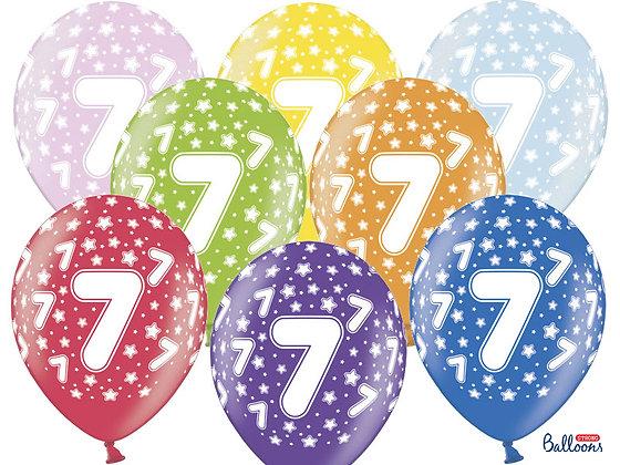 Balony metalizowane z nadrukiem cyfra 7