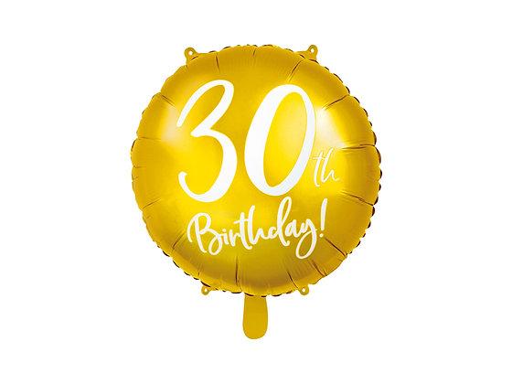 Balon foliowy złoty 30 urodziny