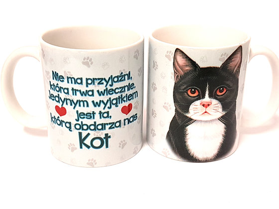 "Kubek z Twoim Pupilem ""Kot czarno-biały"""