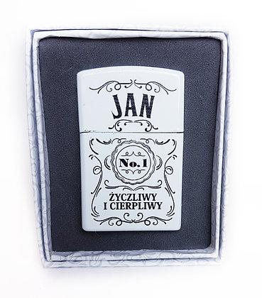 Zapalniczka z imieniem w ozdobnym pudełeczku JAN
