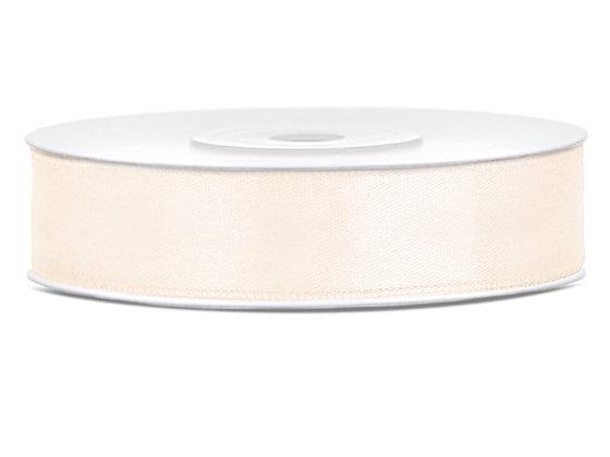 Tasiemka satynowa 12mm 25m kolor jasnokremowy