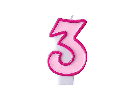 Świeczka Urodzinowa cyferka 3 różowa
