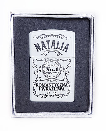 Zapalniczka z imieniem w ozdobnym pudełeczku NATALIA