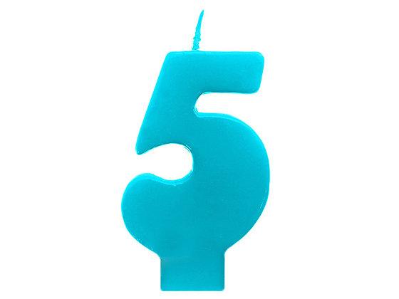 Świeczka Urodzinowa cyferka 5 turkusowa