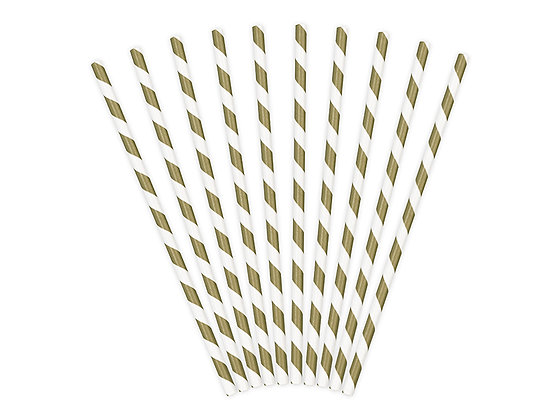 Słomki papierowe kolor złoty