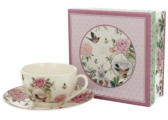 Filiżanka porcelanowa ze spodkiem - Komplet kawowy LOVE